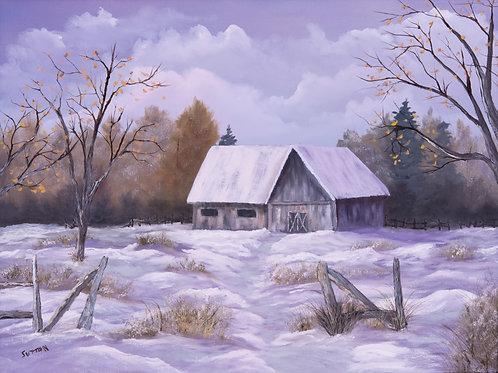 """""""Old Snowy Barn"""" 18"""" x 24"""" oil on canvas"""