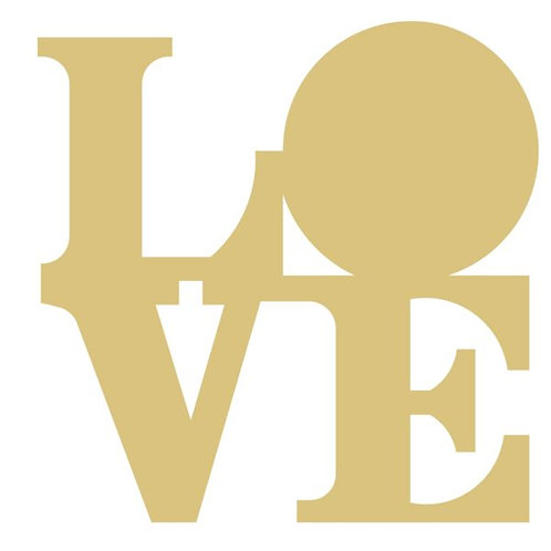Word Love With Solid O Cutout Style 1