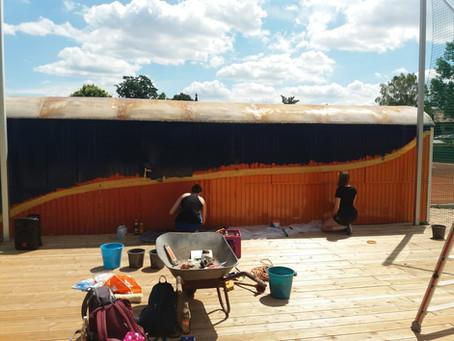 Letzte Verschönerungsarbeiten an der PREMO-Arena