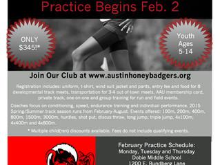 Registration Now Open, Practice Begins Feb