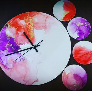 Alcoholic Art - Clock & Coaster