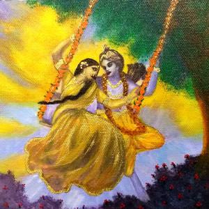Radha Krishna Enjoying on the Swing
