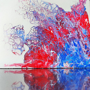 Fluid Art : Dual Tone of Red and Blue