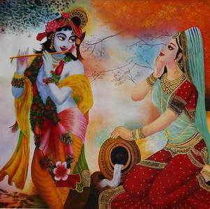 Lord Krishna pleasing Radha