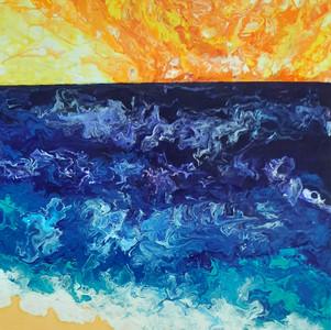 Fluid art:  Horizon by the sea side