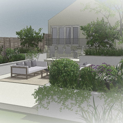 Design for a contemporary garden seating area