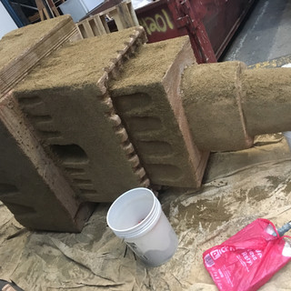 Sandcastle Carving and Dressing in Progress