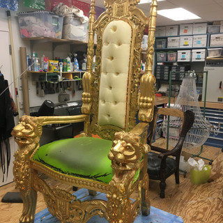 Reupholstery and Gold Leaf Application of Throne