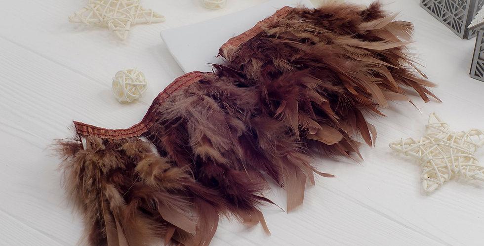 Перьевая лента  Градиент 12-15см индюк ,  коричневый