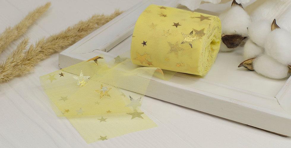 Фатин мягкий с золотыми звездами 6см , желтый