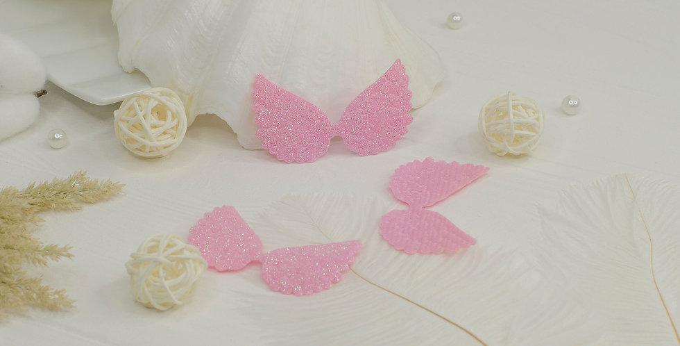 Патчи крылья большие глиттерные , розовый