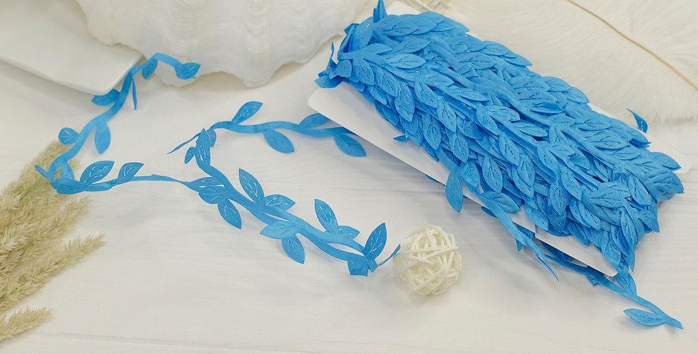 Греческая лента с листочками , голубая