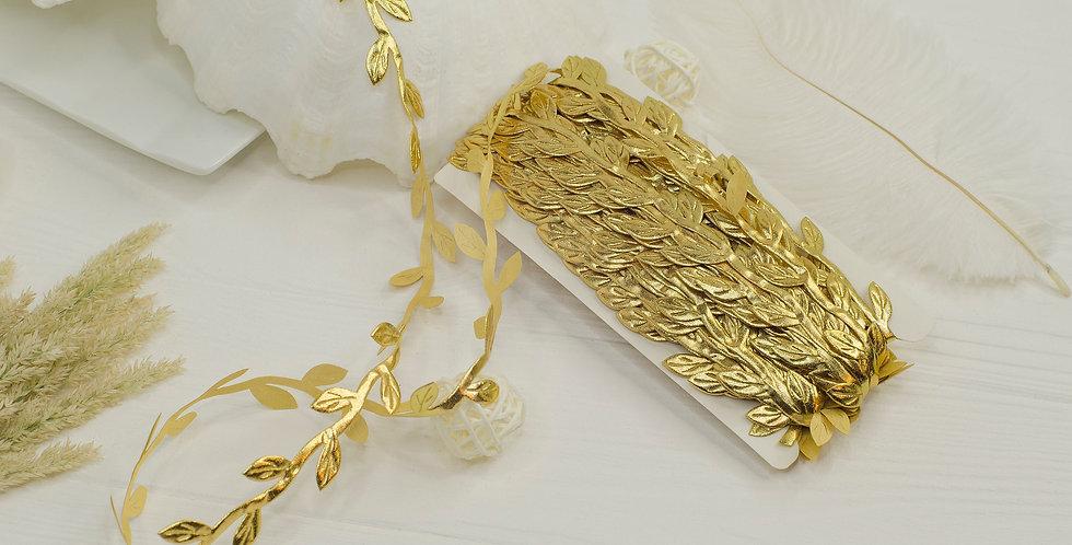 Греческая лента с листочками , золотая