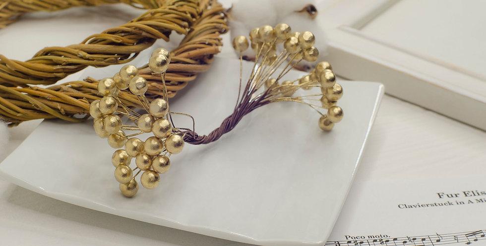 Ягоды на ветке 6мм двойные в пучке 50шт , золото