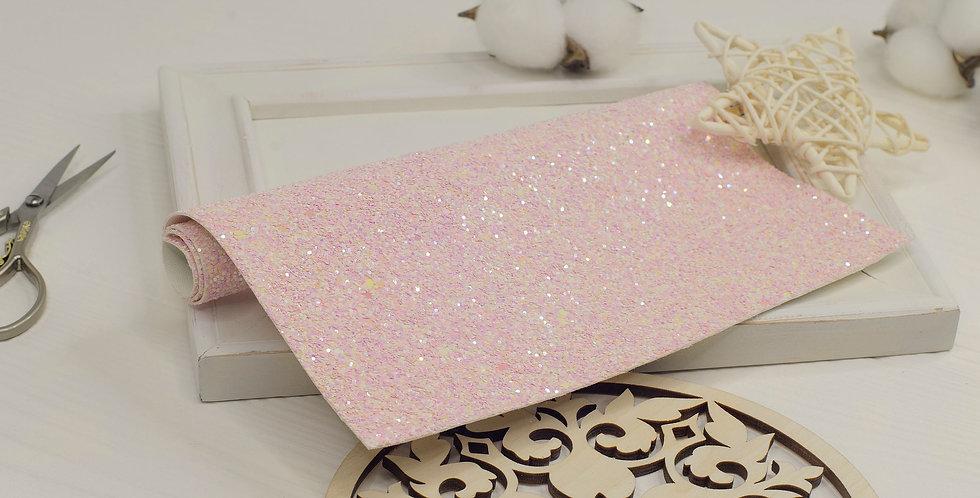 Кожзам с крупным глиттером , нежно розовый