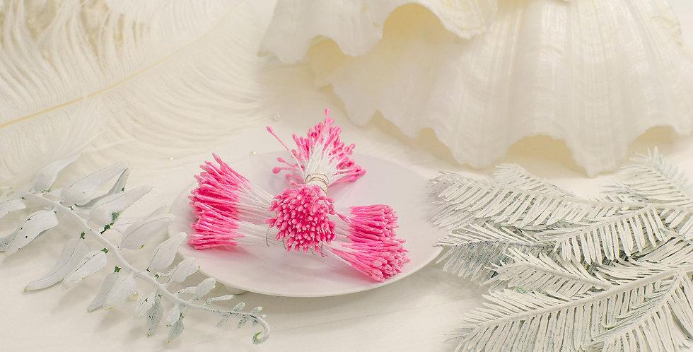 Тычинки глянец пучок 1мм длинные , розовые