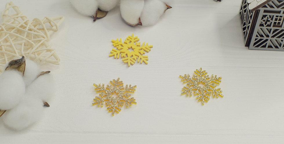 Патч глиттерная снежинка 4см золотая