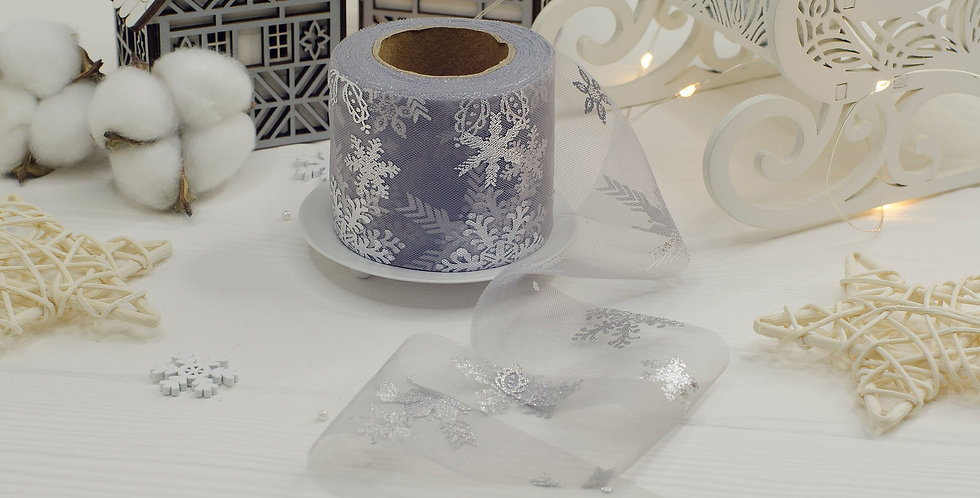Фатин серый Серебряные снежинки 6см , серый матовый