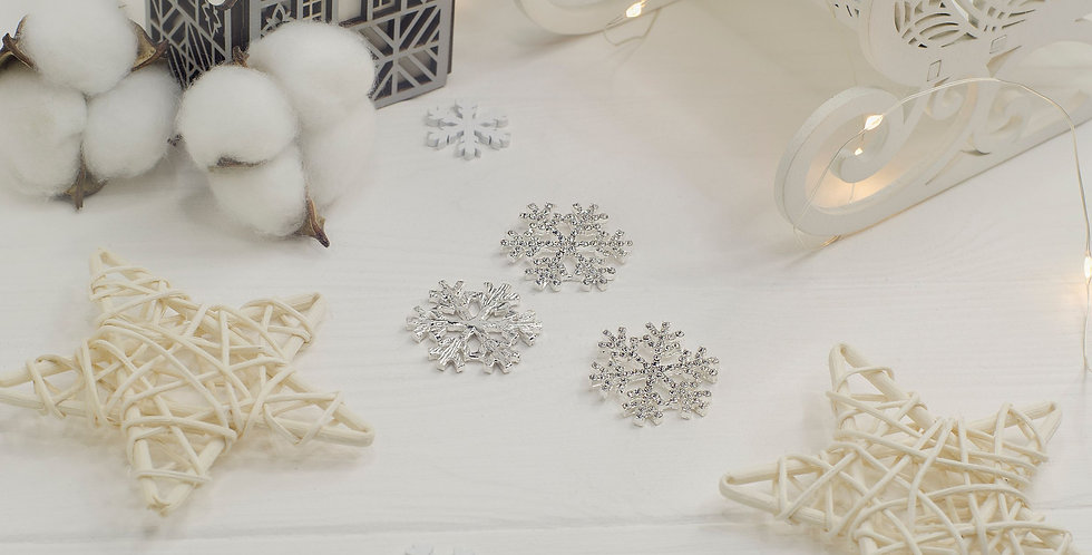 Стразовая снежинка 35мм серебро