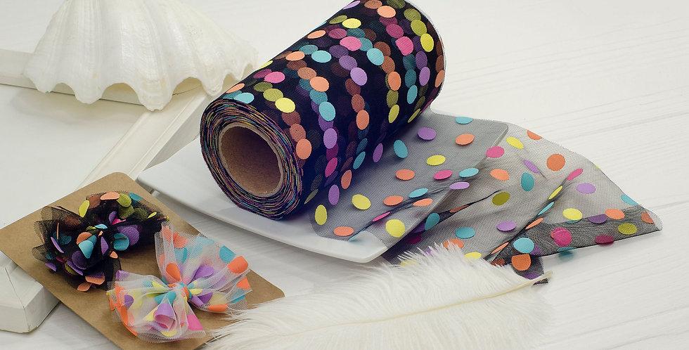Фатин конфетти мягкий 13см , черный
