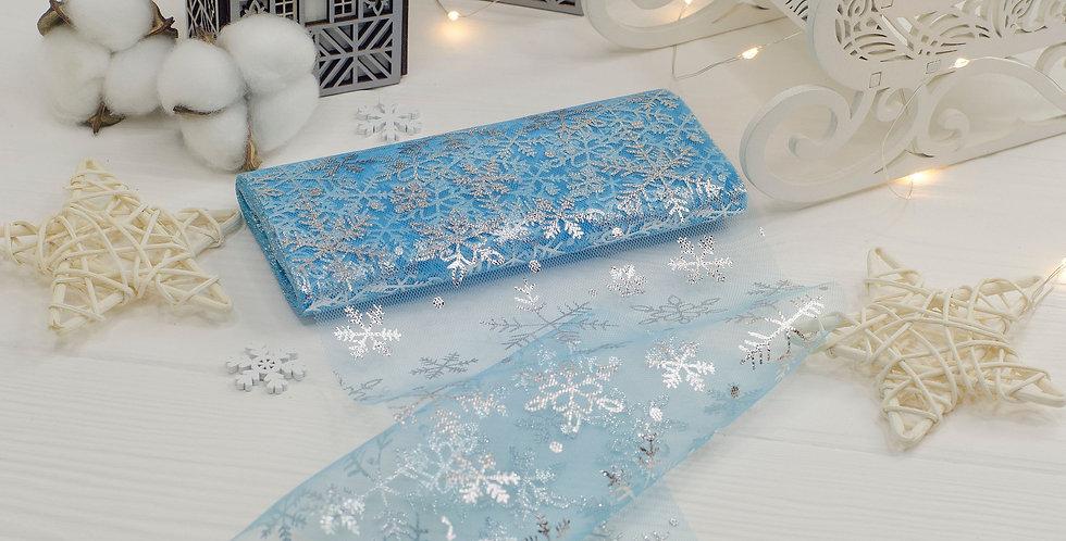 Фатин широкий Серебряные снежинки 15см , голубой 50см