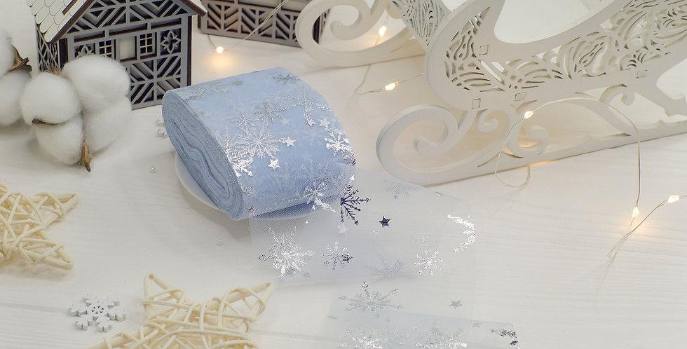Фатин узкий Серебряные снежинки 6см , пыцльно голубой матовый
