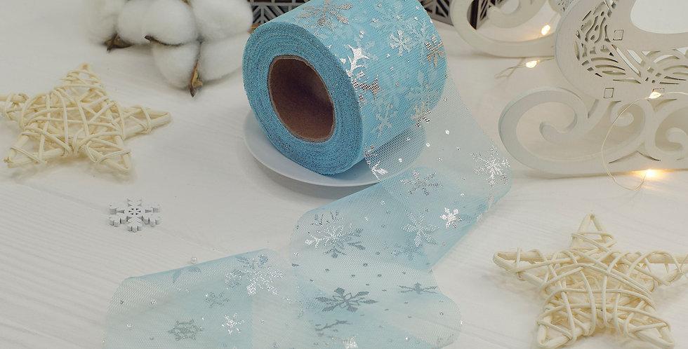 Фатин узкий Серебряные снежинки 6см , голубой матовый