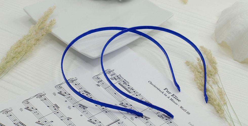 Обруч основа в атласной ленте металл 5мм синий