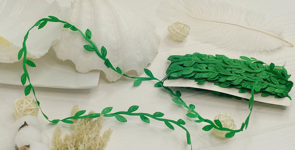 Греческая лента с листочками , зеленая
