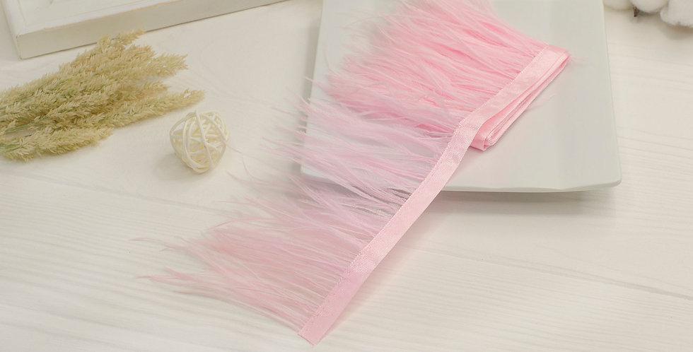 Перьевая лента страуса 8-9см , нежно розовый