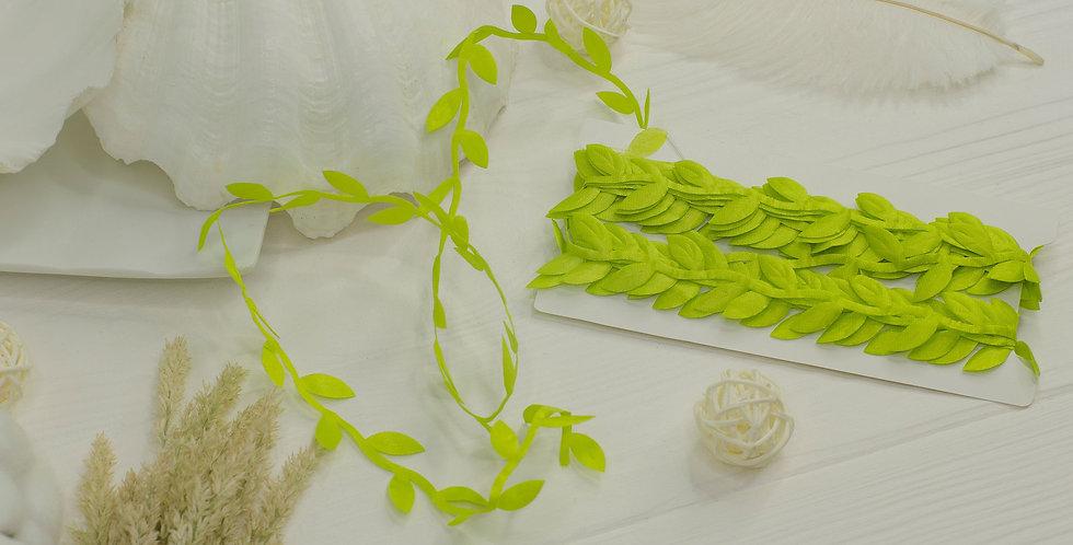 Греческая лента с листочками , светло зеленая