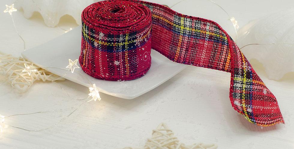Лента Шотландка со снежинками 5см кайма с проволокой 50см