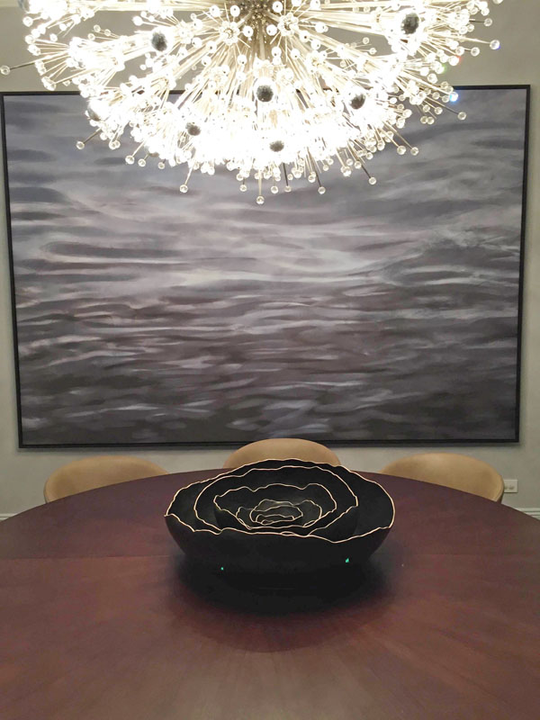 installed TREMEL Black Nesting Bowls on 9' walnut table view 3