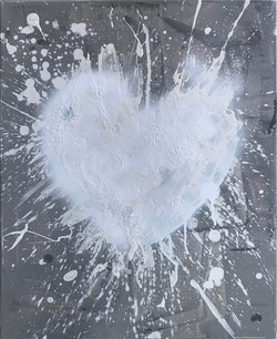'LOVE EXPLOSION WHITE ON GREY (2017)