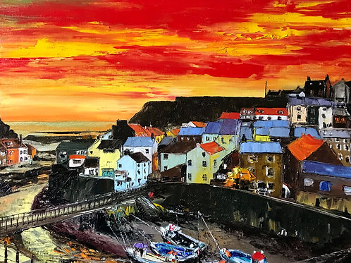 Staithes 'Red Sky' Limited Edition A3 Print