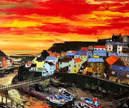 Staithes - 'Red Sky'