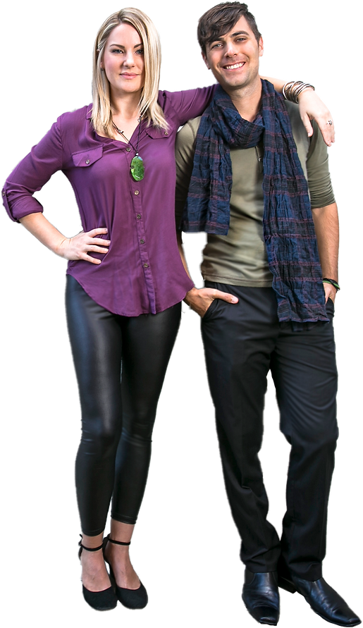 Kat and Josh, founders of Play Music School, standing together