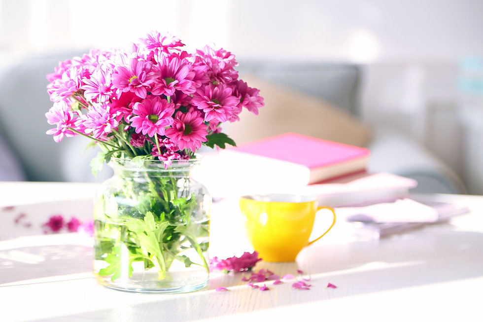 Pink flowers spring books tea .jpg