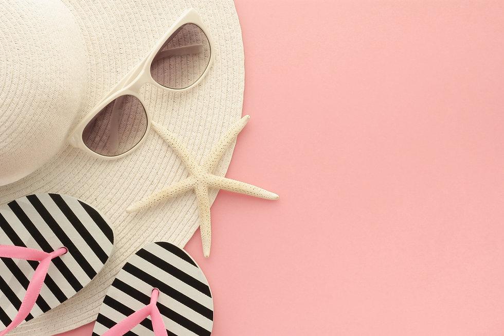 beach hat pink flip flops navy stripe.jpg