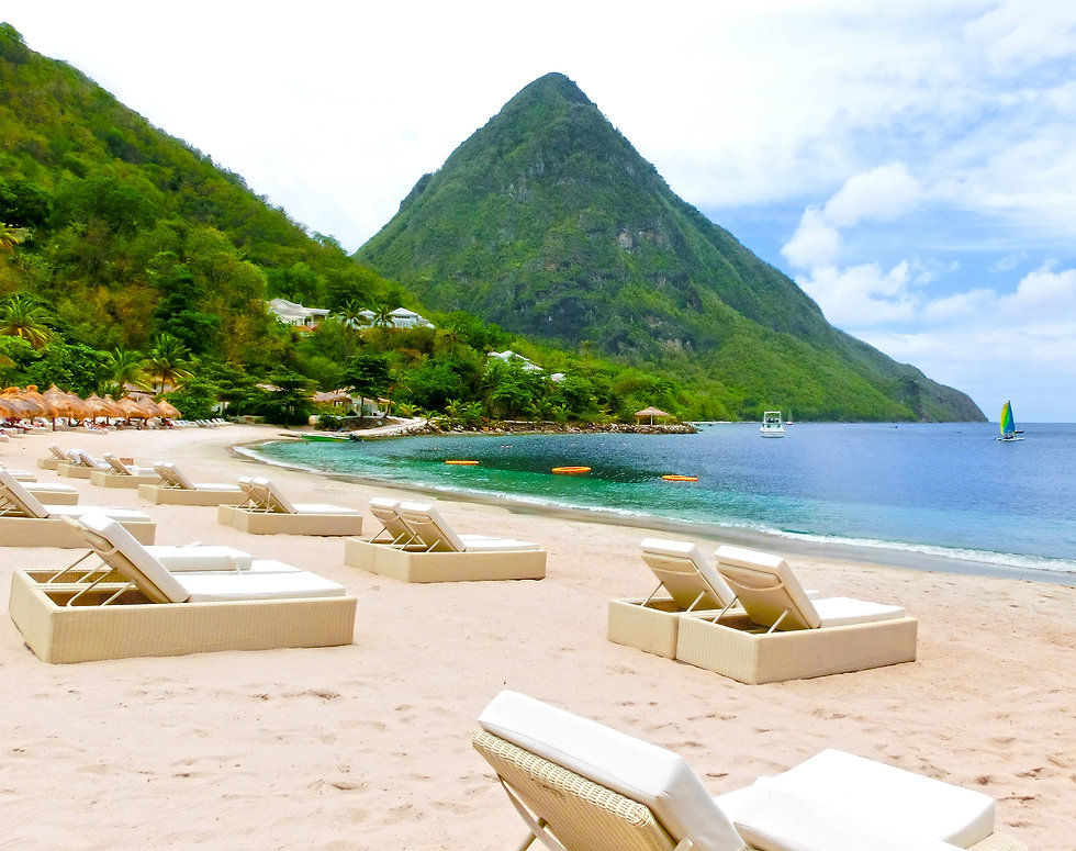 Beautiful white beach in Saint Lucia, Ca