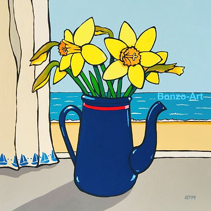 Blue Jug and Daffies