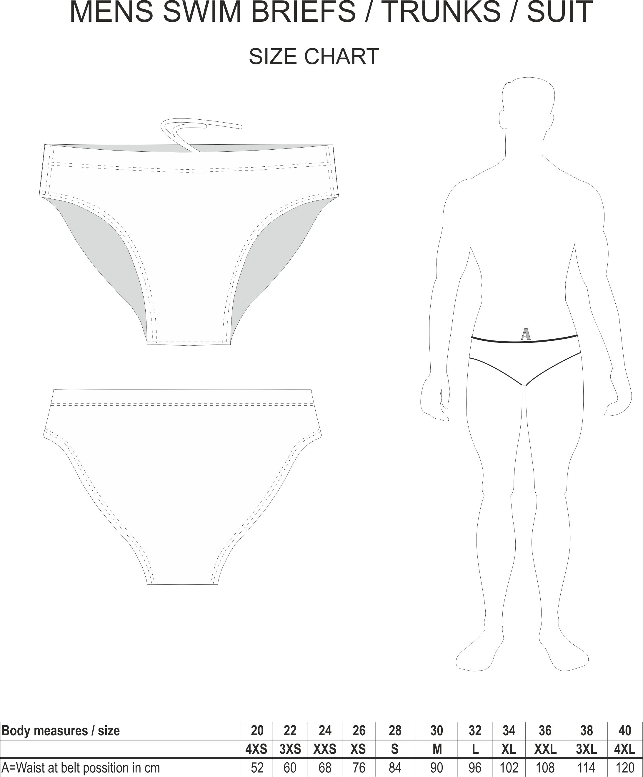Mens Swimming Brief Size Chart
