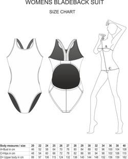 Womens Bladeback Swimsuit Size Chart