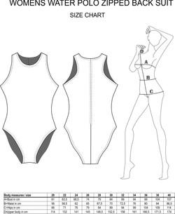 Womens Zipped Back Suit Size Chart
