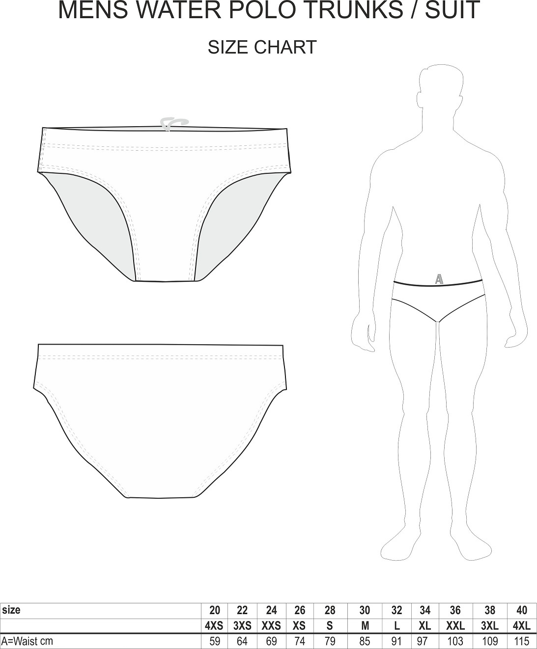 Mens Water Polo Swimsuit Size Chart