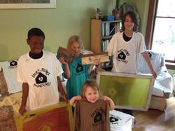 Neighbors helping make L&F tshirts