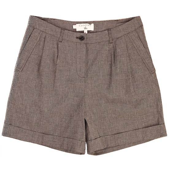 cotelac cuffed tweed check short