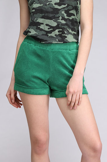 MAJESTIC GREEN TERRY SHORT