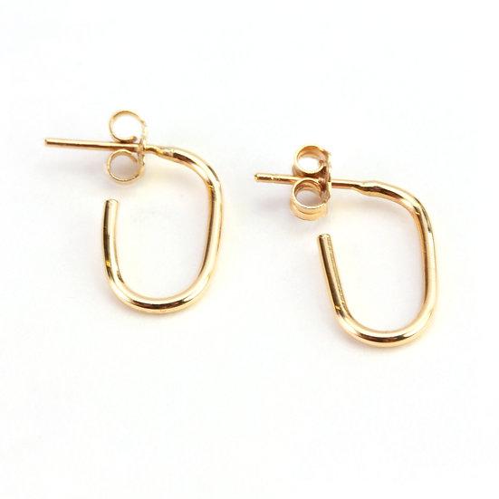 CH 14K GOLD LINK HOOP EARRINGS