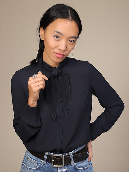 COTELAC NAVY BLOUSE WITH NECK TIE